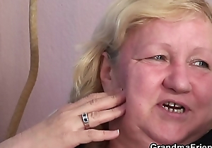 Old granny double blowjob plus 3some sex