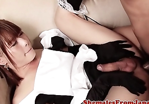 Asian trans stunner fucked in maid outfit