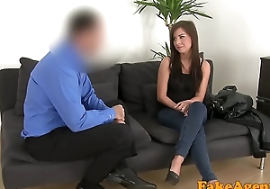 Ordinance Agent Petite brunette really wants casting couch fuck