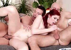 Assfucked fellows spitroasting a glam babe