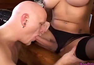 Bigboob shemale buttfucking her male lover