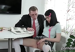 Cuddly schoolgirl is seduced and shagged by her doyen tutor