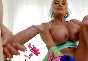 Mature mollycoddle Sally D'Angelo wants to play with Jordi's hard cock