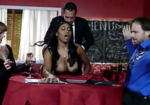 Big breasted jet-black waitress Jenna J Foxx fucked by her boss infront of clients