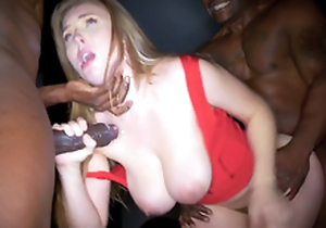 Lena Paul has to please two black dongs all round failed double date