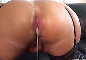Submissive slut hard Ass fucked by a brutal men horde, including extreme filling with cream and piss!