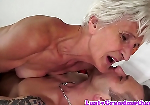 Cockriding granny sucking younger unearth