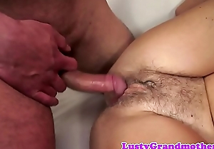 Pussyfucked granny widens her legs for cock