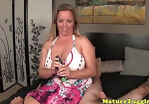 Curvy grown-up arrhythmic dick and shows huge tits